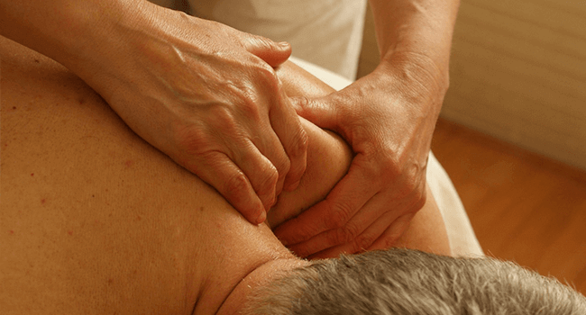 man receiving a sports massage session