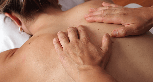 patient receiving a Swedish massage session